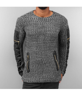 Pull Bangastic PU Knit Aspect Cuir Gris Anthracite