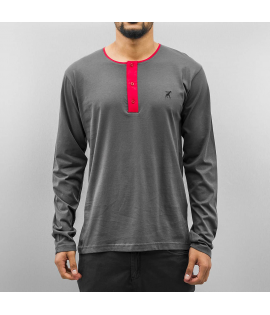 T-shirt Manche Longue Cazzy Clang Boutons Longsleeve Gris Rouge