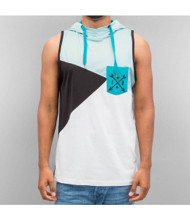 Débardeur Capuche Just Rhyse Hooded Tank Top Turquoise Blanc