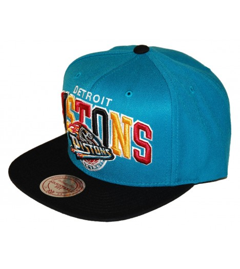 MITCHELL & NESS Snapback PISTONS Turquoise / Noir Tri-Pop