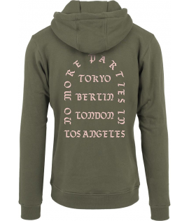Sweat Capuche Mister Tee No More Parties LA Hoody Olive Rose