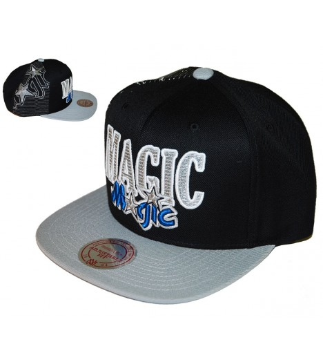 MITCHELL & NESS Snapback MAGIC Noir / Gris gravure Laser