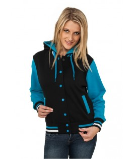 Veste Teddy URBAN CLASSICS Ladies Noir / Turquoise College