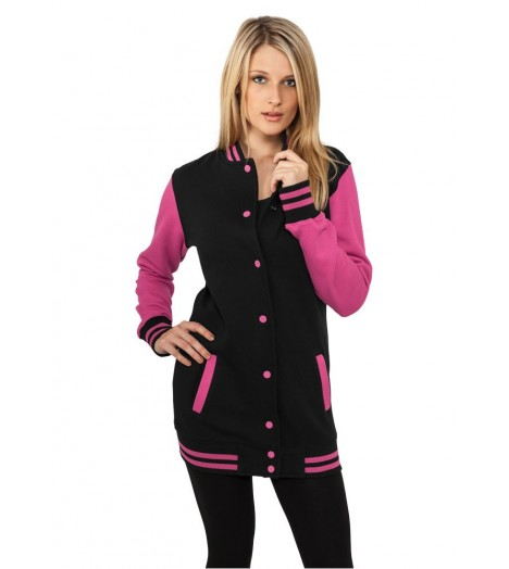 Veste Teddy longue URBAN CLASSICS Ladies Noir / Rose Fuchsia