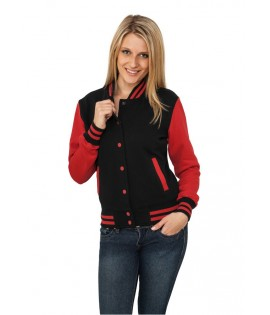 Veste Teddy URBAN CLASSICS Ladies Noir / Rouge College