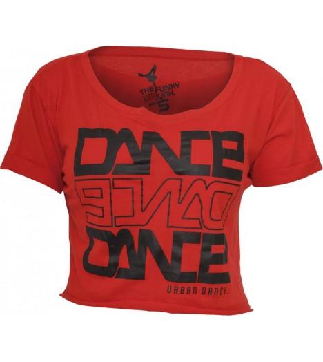 "T-shirt ample et court URBAN DANCE "" Short Danse "" Rouge / Noir"