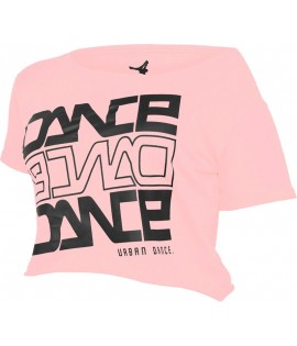 "T-shirt ample et court URBAN DANCE "" Short Danse "" Rose Néon / Noir"