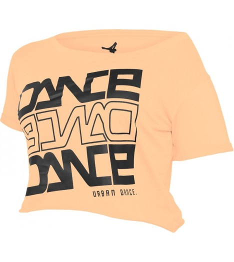 "T-shirt ample et court URBAN DANCE "" Short Danse "" Orange Néon / Noir"