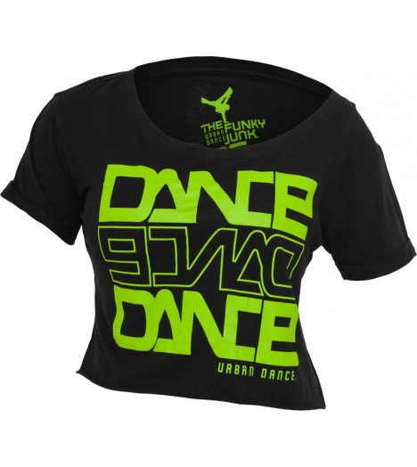 "T-shirt ample et court URBAN DANCE "" Short Danse "" Noir / Vert Lime"