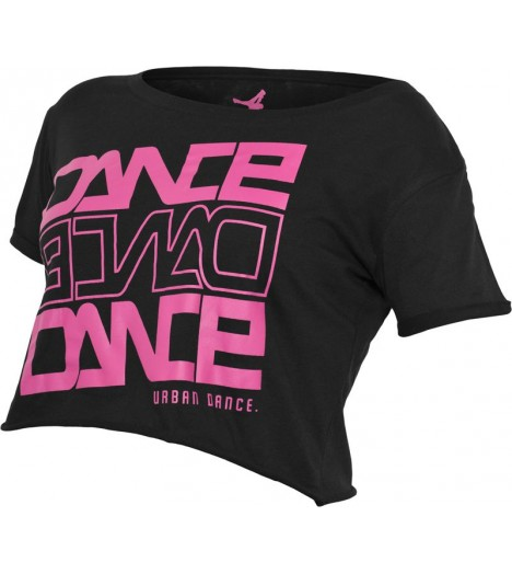"T-shirt ample et court URBAN DANCE "" Short Danse "" Noir / Rose"