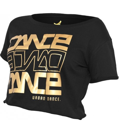 "T-shirt ample et court URBAN DANCE "" Short Danse "" Noir / Or Aluminium"