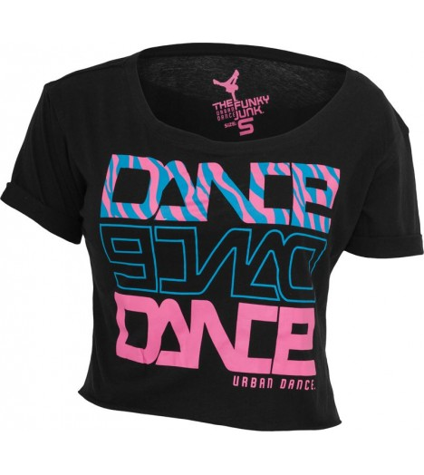 "T-shirt ample et court URBAN DANCE "" Short Danse Zebra "" Noir / Bleu / Rose Fuchsia"
