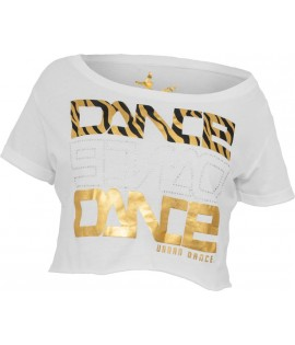 "T-shirt ample et court URBAN DANCE "" Short Danse Zebra "" Blanc / Or Aluminium"