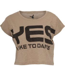 """T-shirt ample et court """"Yes I Like To Dance"""" URBAN DANCE Lurex Or / Noir"""