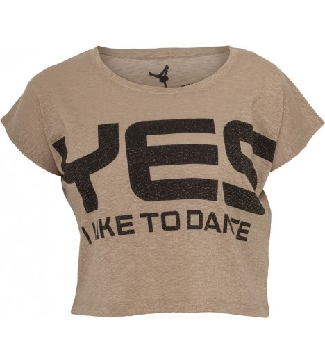 "T-shirt ample et court ""Yes I Like To Dance"" URBAN DANCE Lurex Or / Noir"