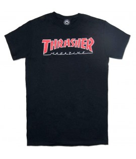 T-shirt Thrasher Outlined Logo Noir Rouge