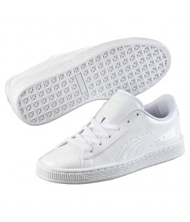 Chaussures Puma Basket Patent Classic Blanc