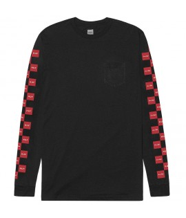 T-shirt HUF x CHOCOLATE Checkeredls Longsleeve Pocket Tee Noir