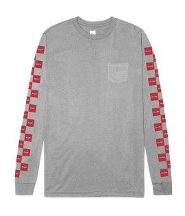 T-shirt HUF x CHOCOLATE Checkeredls Longsleeve Pocket Tee Gris
