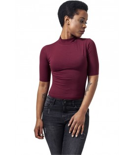 T-shirt Court Urban Classics Bordeaux Col Tortue