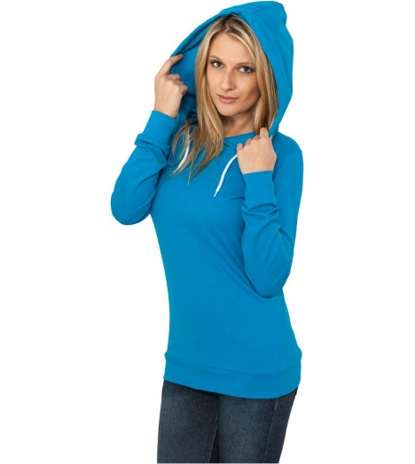 Jersey à capuche Long URBAN CLASSICS Ladies Turquoise Slim Fit