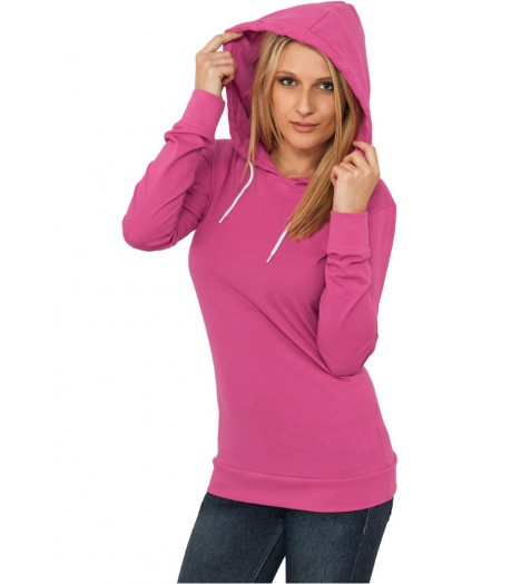 Jersey à capuche Long URBAN CLASSICS Ladies Fuchsia Slim Fit