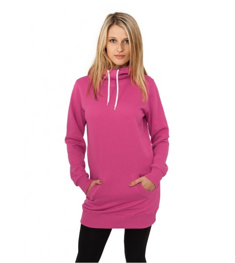 Sweat Long A Capuche URBAN CLASSICS Ladies Rose Fuchsia Slim Fit