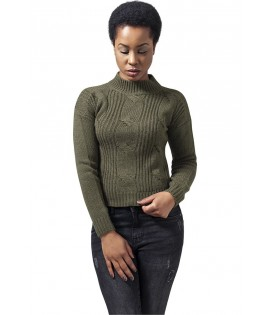 Pull Court Femme Urban Classics Col Tortue Olive