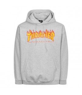 Sweat Capuche Thrasher Flame Logo Gris