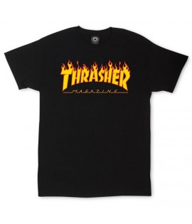 T-shirt Thrasher Flame Logo Noir Orange