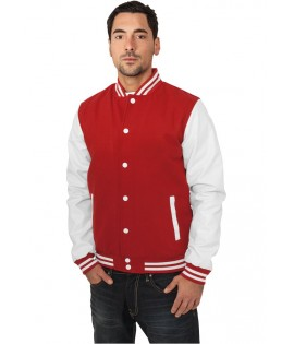"Blouson Teddy URBAN CLASSICS Rouge / Blanc ""Old School"" Laine College Style"