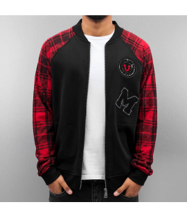Veste Teddy Just Rhyse Patches College Jacket Noir Rouge