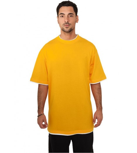 Tee-shirt extra long URBAN CLASSICS Contraste Orange / Blanc
