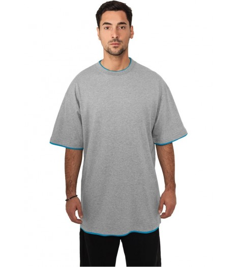 Tee-shirt extra long URBAN CLASSICS Contraste Gris / Turquoise