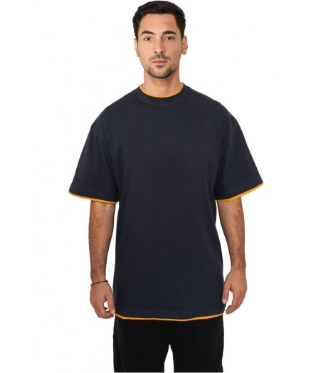 Tee-shirt extra long URBAN CLASSICS Contraste Bleu marine / Orange
