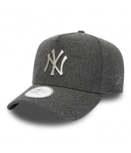 Casquette Trucker New Era NY Yankees Melton Metal Gris Charbon