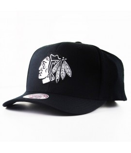 Casquette Courbée Mitchell & Ness Chicago Blackhawks NHL Noire Technologie Cool & Dry
