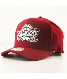 Casquette Courbée Mitchell & Ness Cleveland Cavaliers NBA Rouge Bordeaux Technologie Cool & Dry
