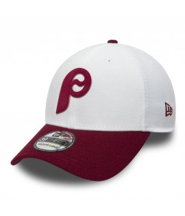 Casquette New Era 3930 Philadelphie Phillies Flock Logo Stretch Blanc Bordeaux