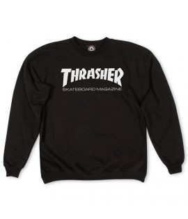 Sweat Crewneck Thrasher Skateboard Magazine Logo Noir