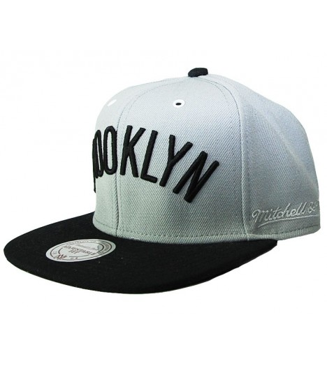MITCHELL & NESS Snapback BROOKLYN Gris / Noir Word XL