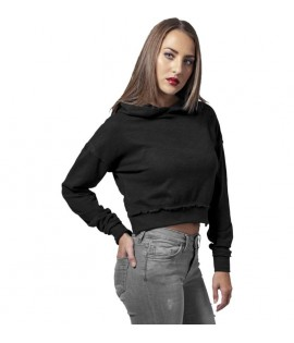 Sweat Court Capuche Urban Classics Noir Coton Flammé
