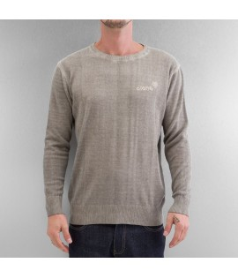 Sweatshirt Clang Oilwashed Knitted Stone