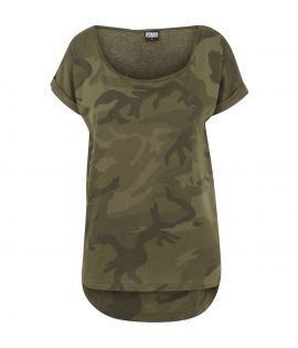 T-shirt Long Urban Classics Camouflage Shaped