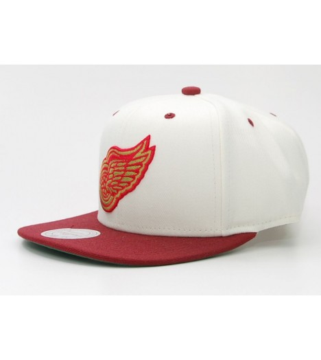 MITCHELL & NESS Snapback RED WINGS Blanc / Bordeaux Velcro