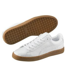 Chaussures Puma Basket Classic Or Blanc