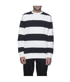 Sweat HUF Catalina Stripe Crew Noir Blanc