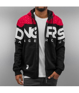 Sweat Zip Capuche Dangerous DNGRS Big Logo Noir/Rouge
