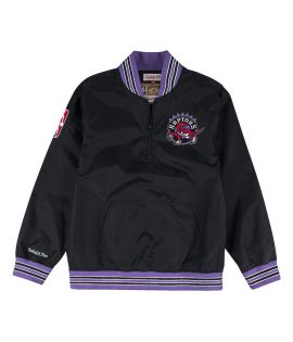 Sweat Mitchell & Ness Toronto Raptors NBA 1/4 Zip Nylon Hardwood Crewneck Noir