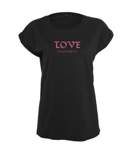 T-shirt Mister Tee Femme Ladies Love Yourself Noir